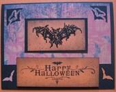 Gothic Bat Halloween Card - Hand Stamped