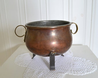 Copper bowl, footed tripod bowl, vintage Swedish rustic copper, shabby farmhouse utensil, please view item details
