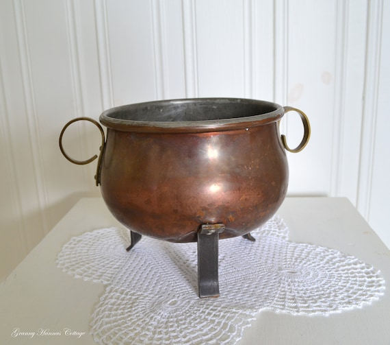 Rustic footed copper bowl, vintage Swedish rustic copper, shabby farmhouse utensil, please view item details
