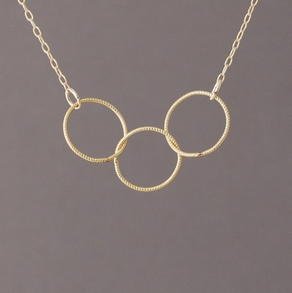 Triple Entwined Link Eternity Gold Fill Necklace also in Silver