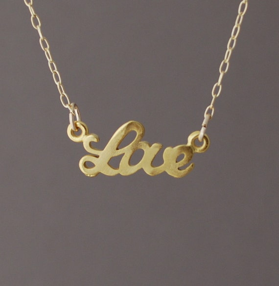 """Gold Love """"word"""" Necklace"""