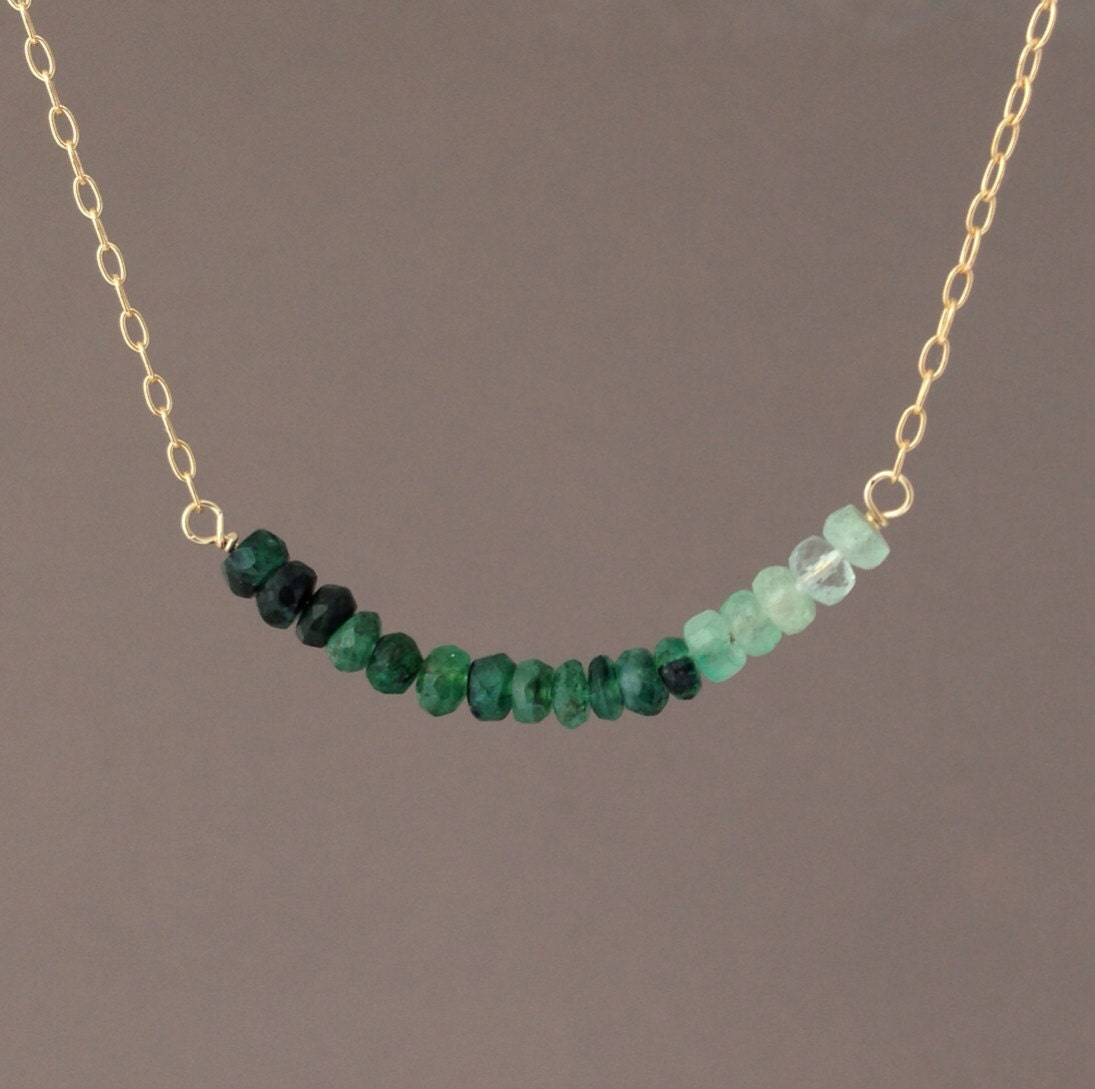 Real Green Emerald Stone Beaded Necklace Gold Rose Gold or - photo#11