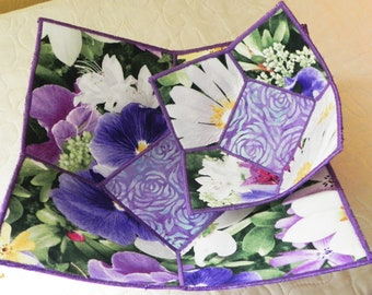 Luscious Pansy Quilted Bowl Set