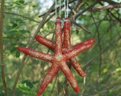 Starfish ornaments - 2 party favors - red ornaments - wedding favors - seashell ornaments - coastal decor