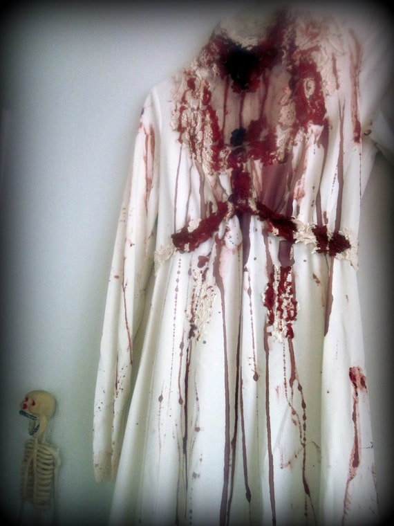 Bloody Zombie Ivory Wedding Dress with Long Train. Blood Splattered.  Elizabeth Bathory, Dead Bride, Vampire, Bride of Dracula Costume