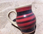 Pottery Mug Coffee Mug Ceramic Hand Painted Red and Black Striped Decorative Bright Tea Mug