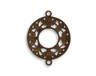 Vintaj 17mm Filigree Ring Connector (2)  - Natural Brass