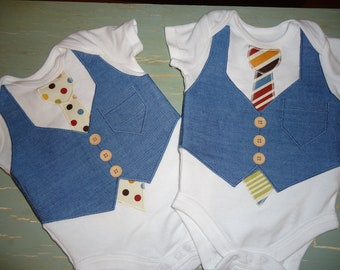 Twin Onesie setAppliqué made to order twin set onesie wedding attire ring bearer tshirt gift