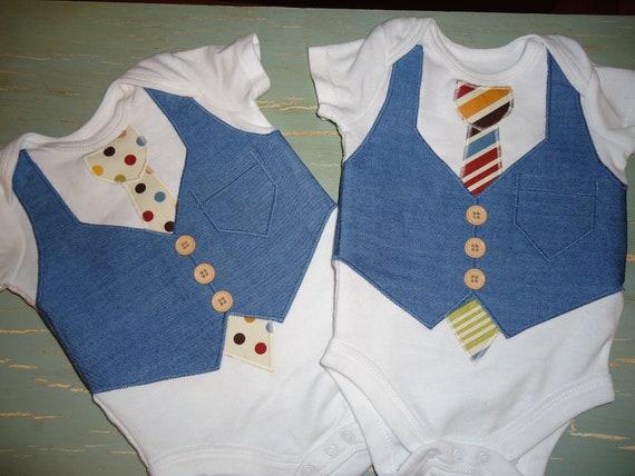 Twin Onesie setAppliqué made to order twin set onesie wedding attire ring bearer tshirt gift