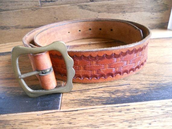 Vintage Tooled Leather Belt Belt Brown Western Unisex Women's Western Belt Men's Western Belt