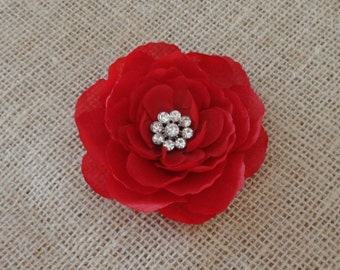 Red Flower Hair Clip w/ Rhinestone - Womens Fascinator Hair Clip -  Flower Hair Pin - Girls Hair Clip