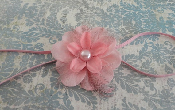 Baby Headband - Newborn/Infant Headband -   Pink Flower Feather Headband- Photo Prop