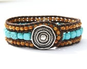 Turquoise Bracelet / Bohemian Jewelry Bracelet / Cuff Bracelet / Aztec Style / Turquoise & Leather / Antiqued Silver Round Button Closure