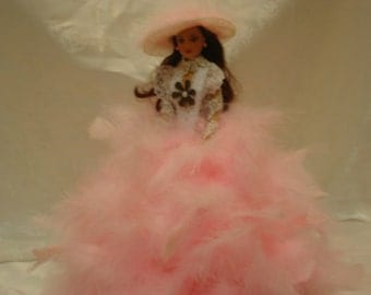 Feather Doll/Glamour Doll/Barbie Doll/Vintage Doll/ Small Doll
