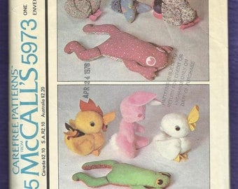 Vintage 1972 McCalls 5973 Stuffed Animals in Two Sizes Frog Duck Rooster Bunny