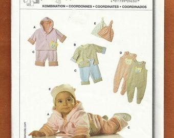 Burda 9636 Clothes for Babies Jacket Pants Hat & Romper Size 1 month to 12 months UNCUT