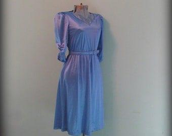 Vintage 70s Blue Dress Three Quarter Sleeve Sheer Petal Neck Applique Size Small