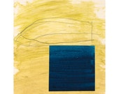 Fine art print, Boat, from original art mustard yellow navy blue - studiopax