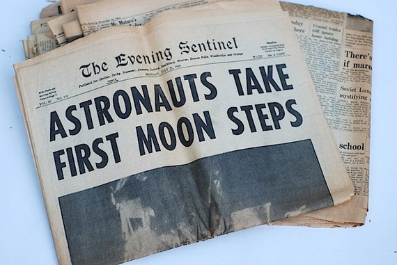 Lot of 1960's Newspapers Moon Landing JFK by TheNewtonLabel