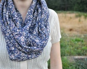 Maggie Infinity/Circle Scarf - navy, burgundy, and white floral