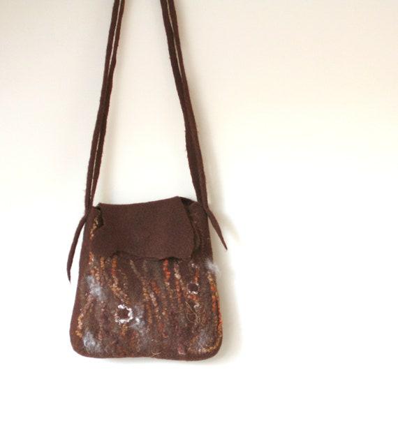 Felted wool bag with long handle - brown handbag - ready to ship - autumn fall fashion - boho - christmas gift - ready to ship