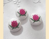 embroidered buttons handmade in ivory silk with pink and green tulip design, pack of three, size 22mm