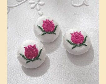 embroidered buttons handmade in ivory silk with pink and green tulip design, size 22mm