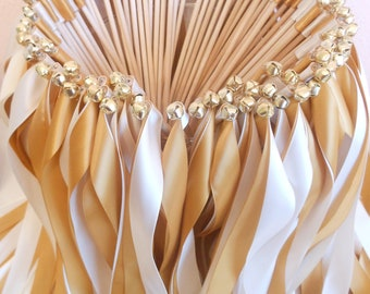 Wedding ribbon wands- party streamers  - 150 double ribbon wands with bells