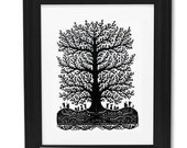 Handmade Paper Cut Silhouettes Papercutting Music under Loverly Tree without frame