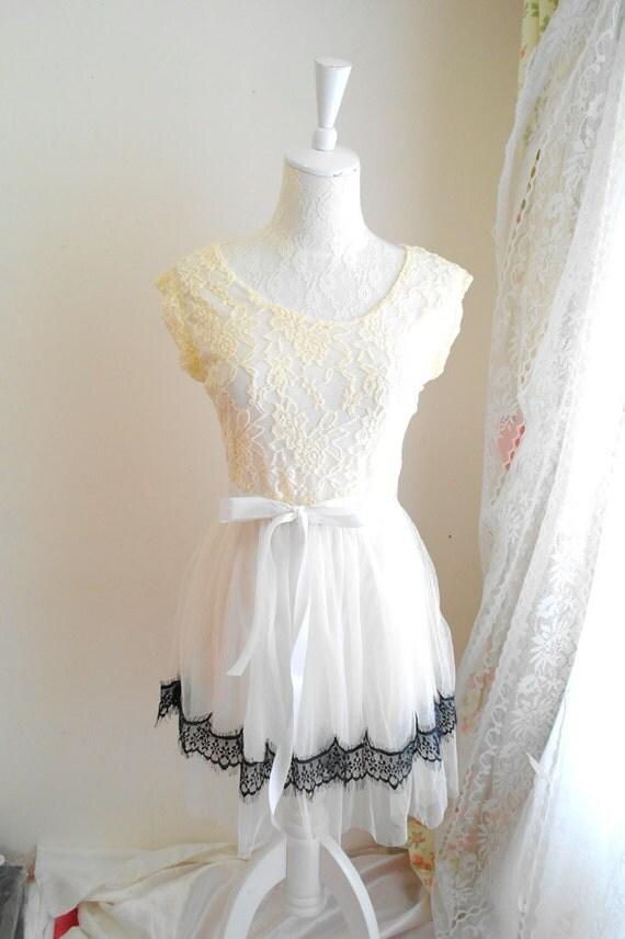 Romantic Ballerina Dreamy Style Beige Lace tank dress Ivory tutu bottom Black Eyelash Lace Trim tunic white sash