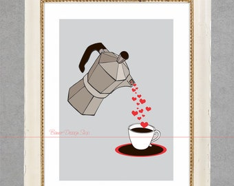 Art Print Room Decoration Interior Printing for Wall Home Decor with Cuban Coffee Maker pouring Hearts humorous style Instant Download 8x10