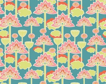 Lotus Blossom in Blue - Raaga - Monaluna Fabrics - Organic Cotton - 1/2 yard, Additional Available