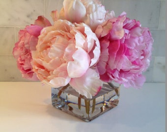 Fine Silk Floral Arrangement Faux Mixed Pink Peonies with Illusion water by La Fleur