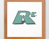 Rr Rhino Kids Decor Typographic Poster