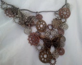 Reserved for Virginia Urbach, If you are not virginia, please do not buy. steam punk style cogs and gears butterfly necklace