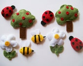 Play set Nature with apple trees daisy  ladybug and bee lovely soft set for your baby and children