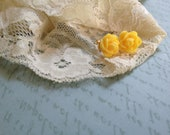 Yellow Mini Rose Cabochon Post Earrings - Primary Collection - Gold/Silver