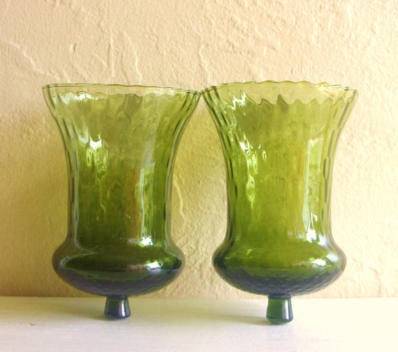 Emerald Green Glass Candle Holders for Wall Sconces Pair