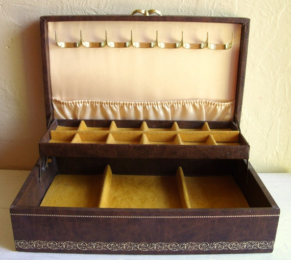 RESERVED - Masculine Brown Leather Jewelry Box with Amber Gold Interior Mele Company