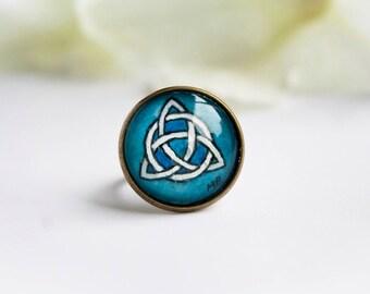 Celtic ring - Hand painted - Made in Ireland - Irish jewelry