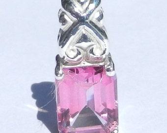 Natural 3.90 Carat Mystic Hot Pink Topaz Pendant Solid 925 Sterling Silver