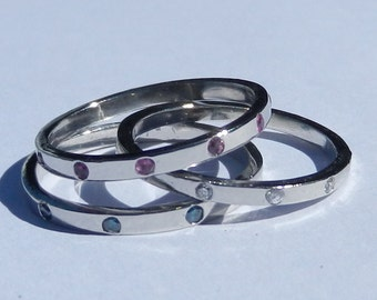Natural Vivid Fancy Blue Diamond, White Diamond, Pink Sapphire Bands set in Solid 950 Platinum / Stackable Rings
