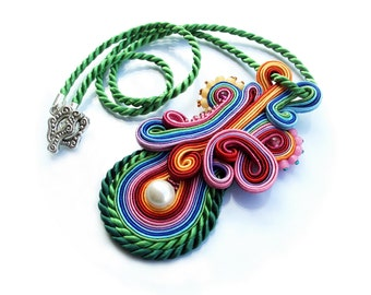 Soutache pendant necklace - colorful, bold and unusual - Rainbow Volcano