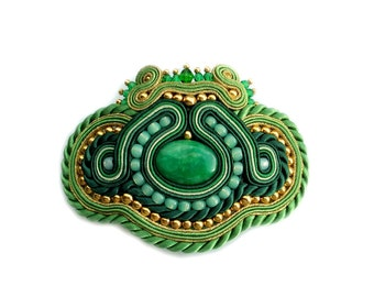 Soutache hair clip accessory, hair embroidered Barrette - elegant, bold and unusual - Green Queen