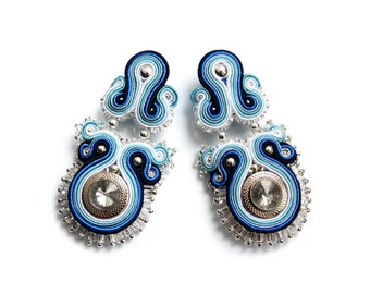 HALF PRiCE - SALE - Soutache earrings (studs or clip earrings) classy and elegant - Kiss of the Snow Queen 3