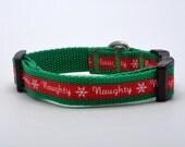 Extra Small Naughty Christmas Dog Collar