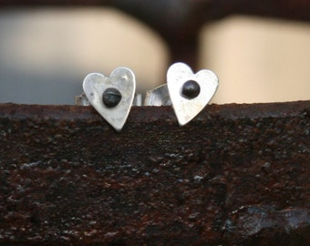 Sterling Silver Post Earrings - Dotted Heart