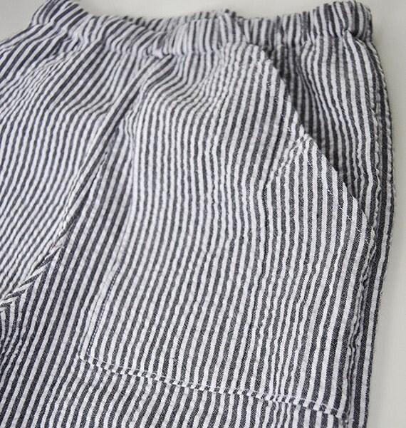 Black Striped Seersucker Cargo Pants -Size12-24 Months-