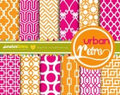 Urban Retro Digital Scrapbooking Paper Set (12) - COMMERCIAL USE Read Terms Below