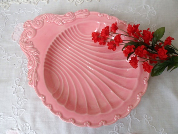 Pink Shell Shaped Serving Bowl, Clam Shell Serving Dish, Seashell Bowl